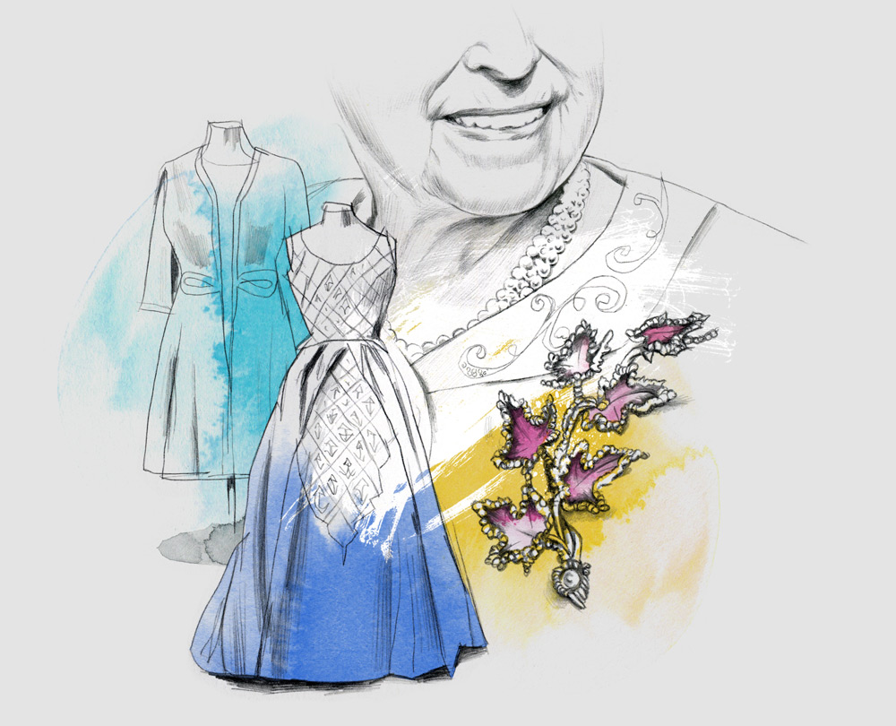 illustration illustrator queen elizabeth dress dresses royal uk monarchy england