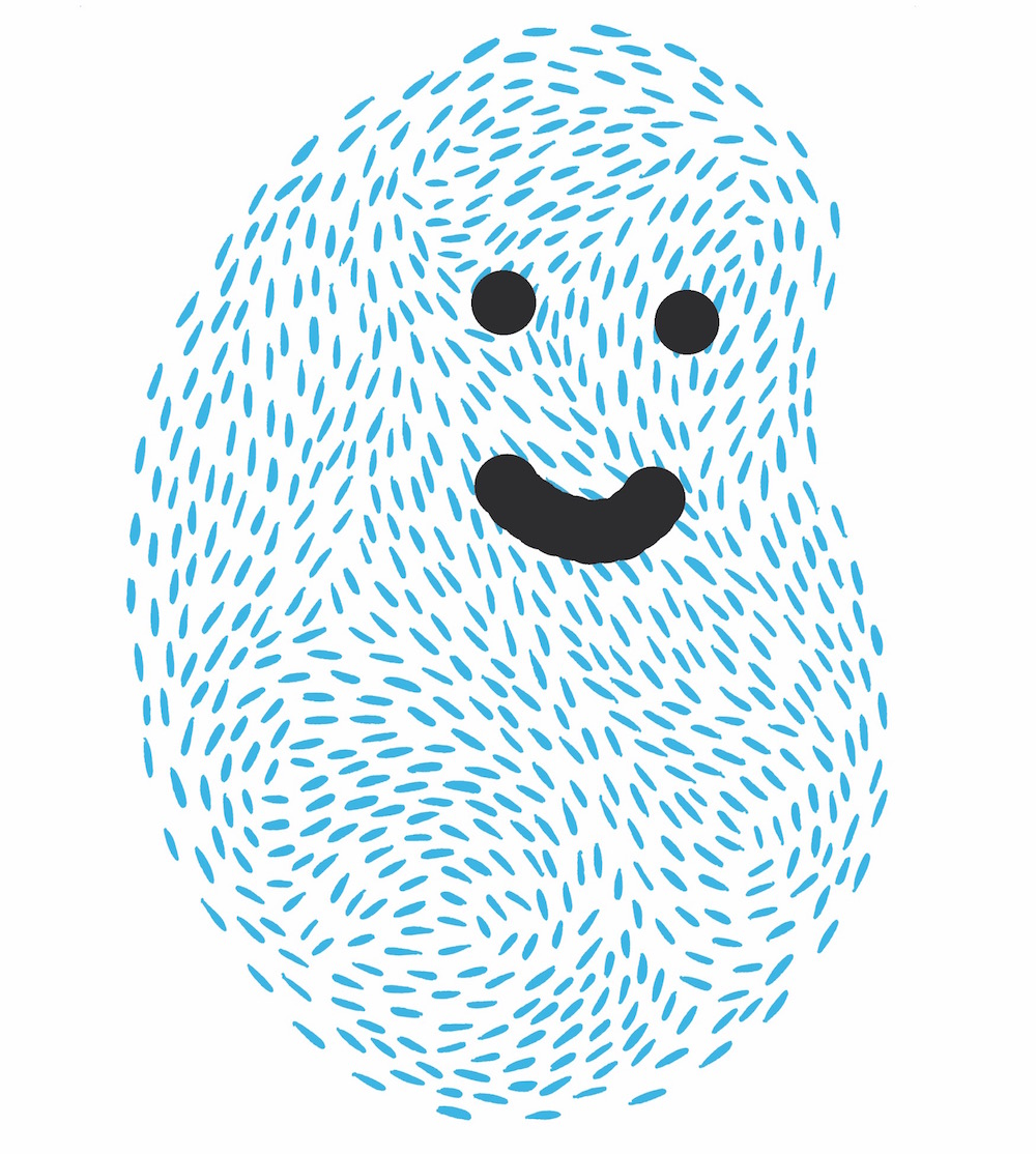 illustration, illustrations, illustrator, illustrators, print, thumbprint, thumb, smile, smiling, happy, lines, line