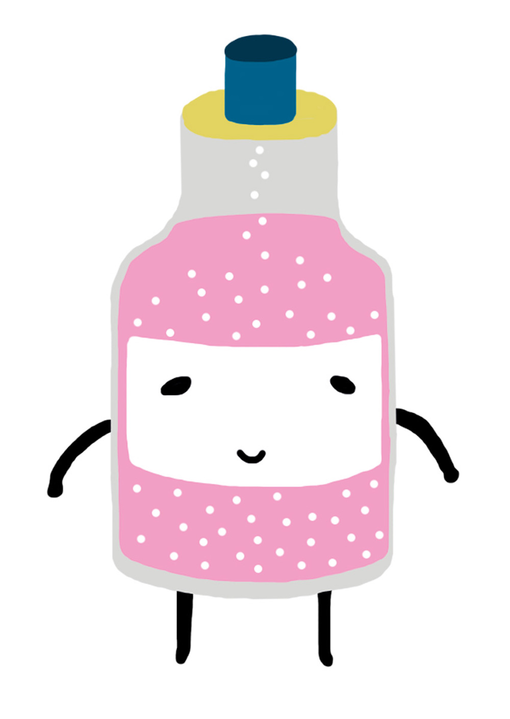 illustration, illustrations, illustrator, illustrators, smile, smiling, bottle, pink, bubble, bubbles, bottles, happy