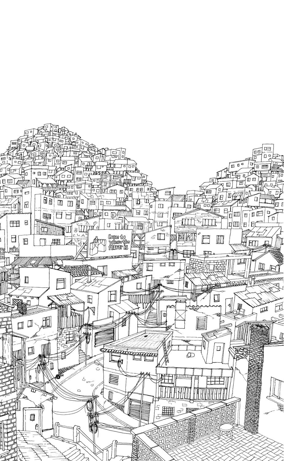 "Ink ""Hand drawing"" realistic ""black and white"" detailed favela Brasil"