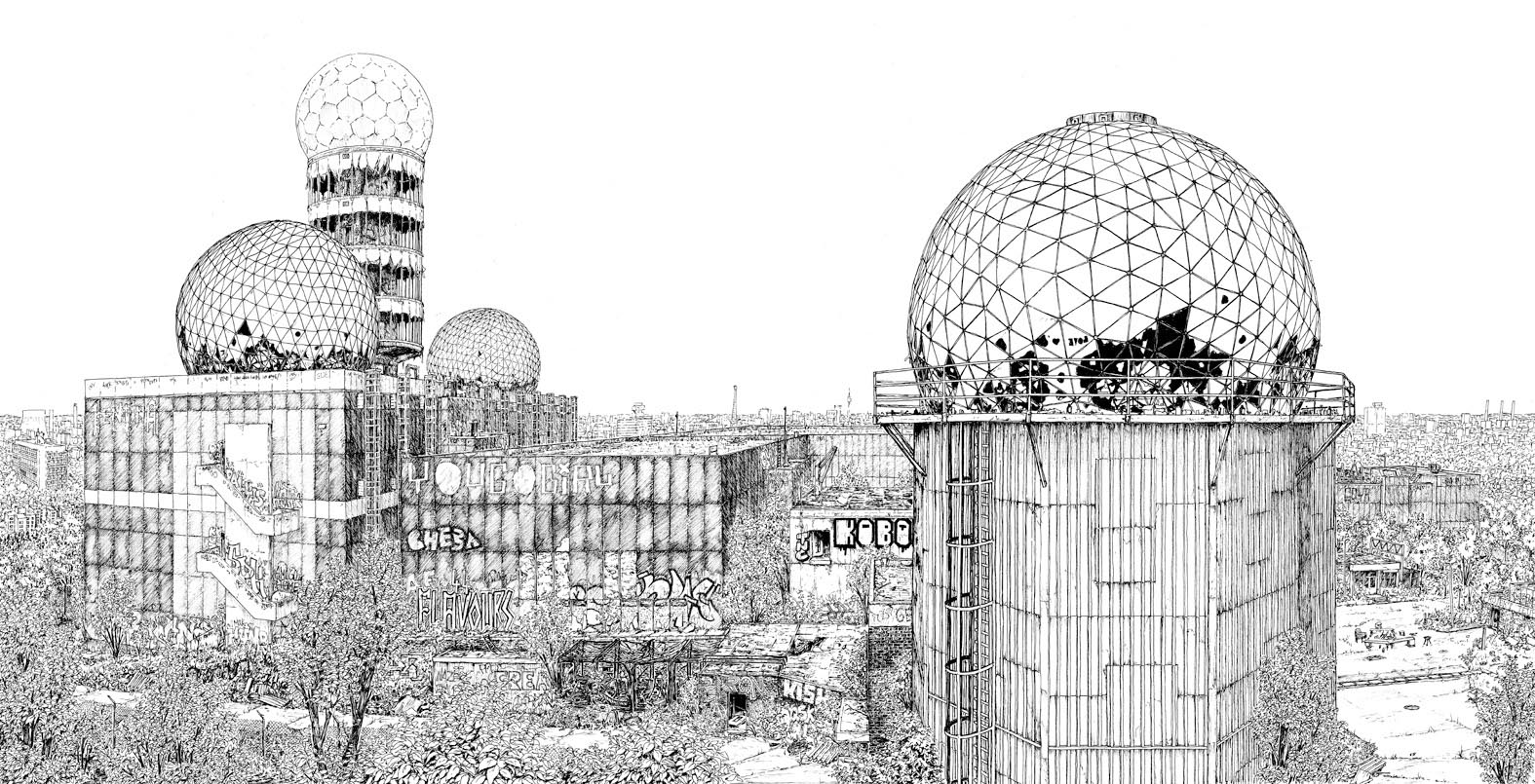 "Ink ""Hand drawing"" realistic ""black and white"" detailed Teufelsberg Devil's Mountain Grunewald Berlin architecture hill"