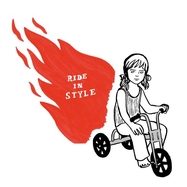 illustration illustrations illustrator illustrators ride in style flames bike girl headphones youth barefoot tricycle bicycle text type