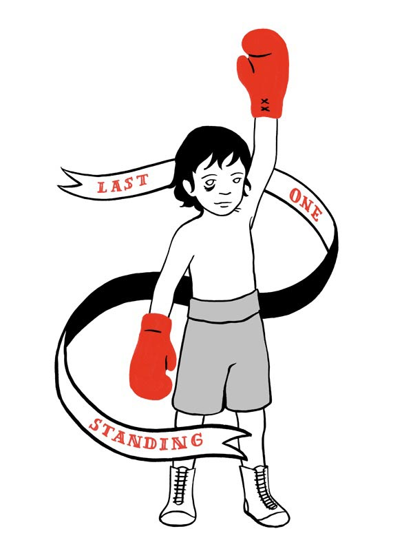 illustration illustrations illustrator illustrators last one standing boxer boxing gloves boy fight victory ribbon text type