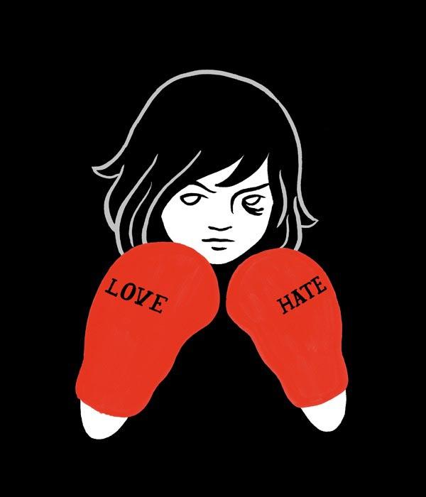 illustration illustrations illustrator illustrators love hate boxing gloves boxer girl fight