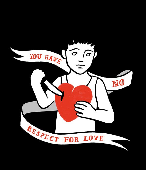 illustration illustrations illustrator illustrators you have no respect for love heart knife ribbon text type boy tattoo flash