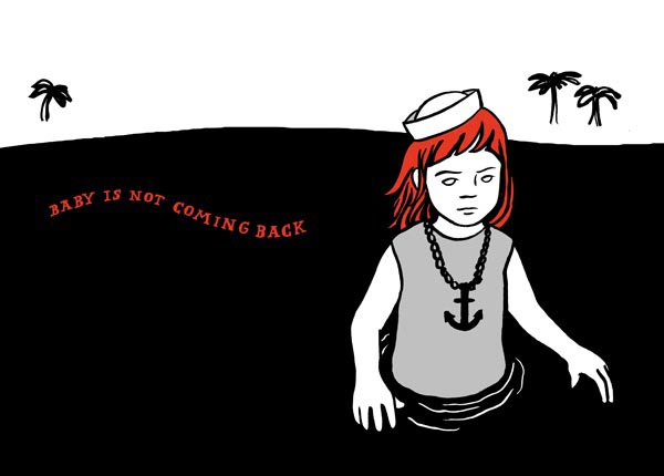 illustration illustrations illustrator illustrators baby is not coming back sailor girl palm tree trees ocean water anchor necklace