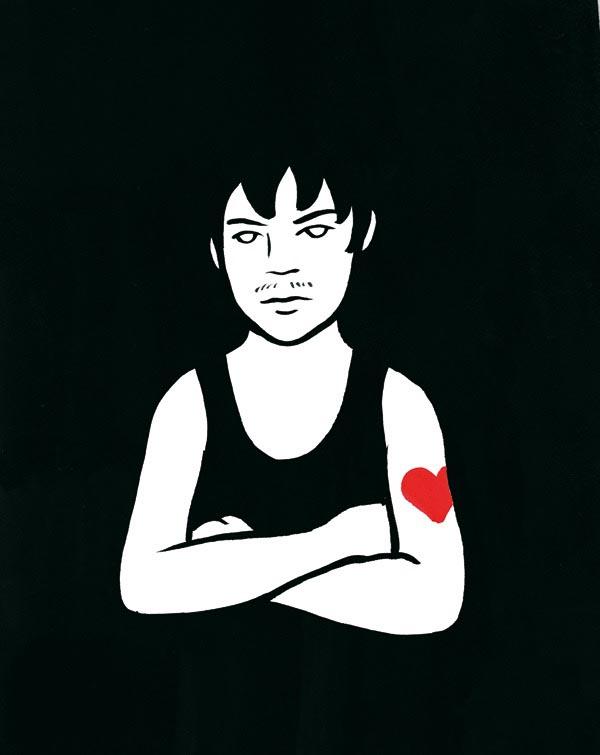 illustration illustrations illustrator illustrators tough guy man men heart tattoo mustache man