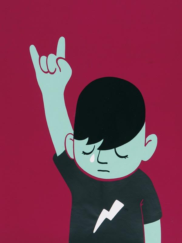 illustration illustrations illustrator illustrators boy emotional lightning bolt tear sad rock sign boys