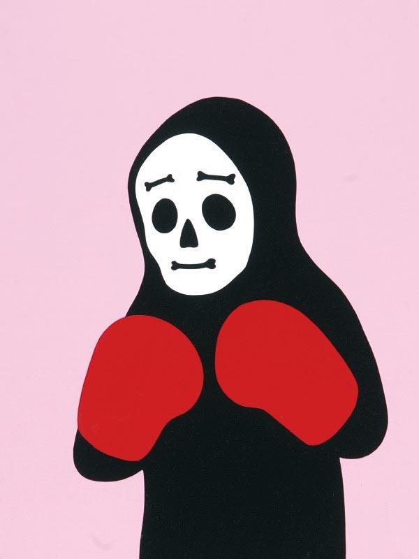 illustration illustrations illustrator illustrators skull skeleton worried boxer boxing gloves