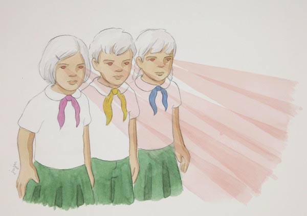illustration illustrations illustrator illustrators boy staring boys girls child children lasers eyes uniform friends