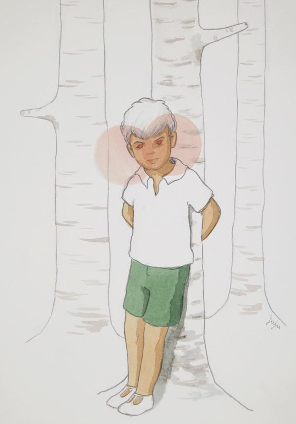 illustration illustrations illustrator illustrators boy boy staring tree trees forrest