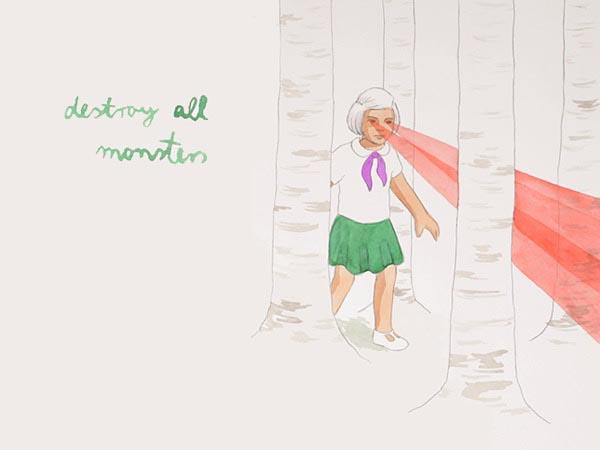 illustration illustrations illustrator illustrators destroy all monsters laser girl girls monster tree trees text type script cursive
