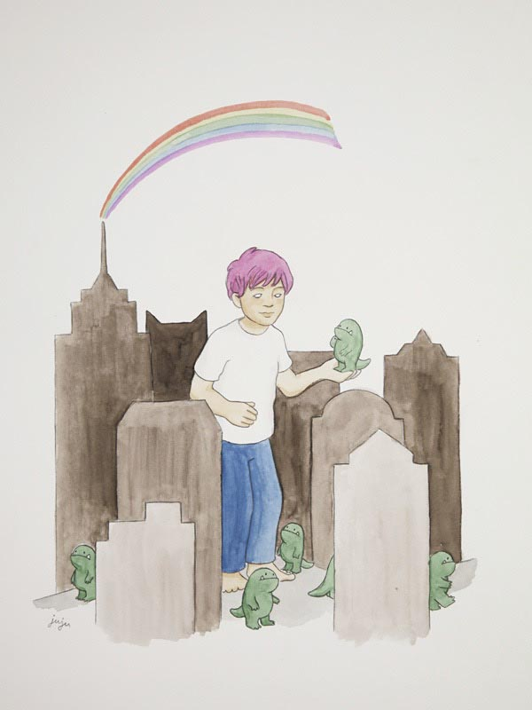 illustration illustrations illustrator illustrators boy boys child monsters graves headstones rainbow monster monsters