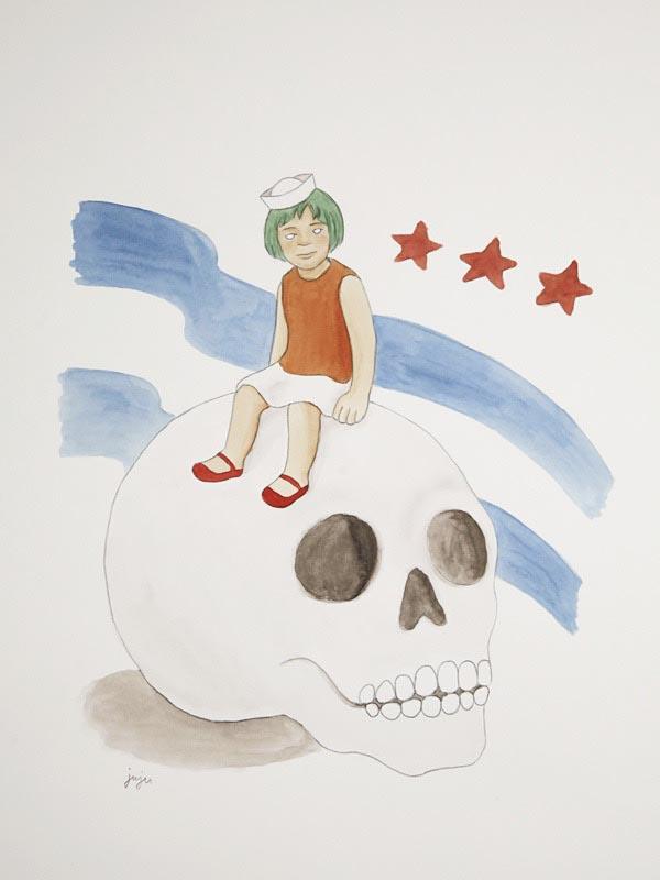 illustration illustrations illustrator illustrators girl girls skulls skull sitting stars stripes star stripe