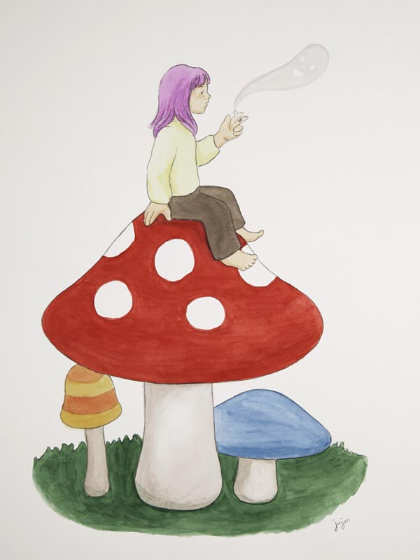 illustration illustrations illustrator illustrators mushroom mushrooms toadstool toadstools girl sitting smoke smoking girls