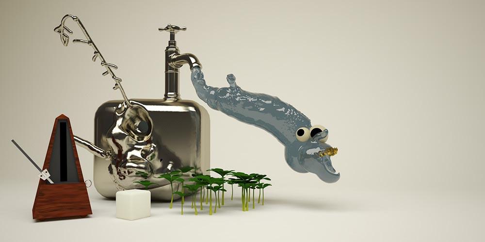3D Surrealistic tap water sugar plants stills