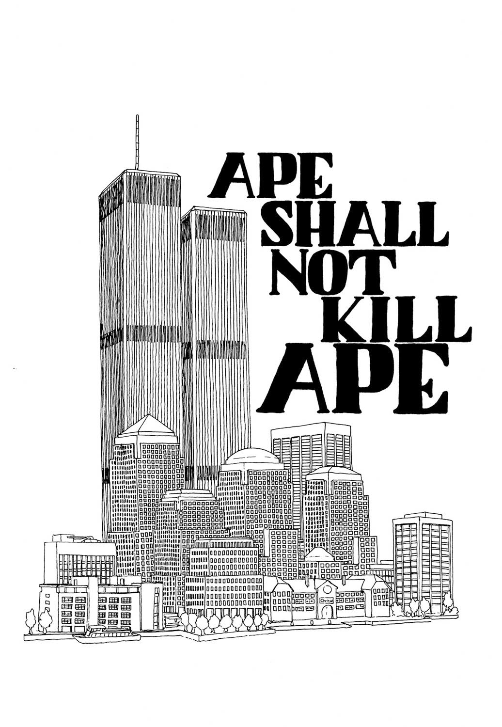 "Ink ""Hand drawing"" realistic ""black and white"" detailed architecture ape shall not kill ape buildings twin towers new york"