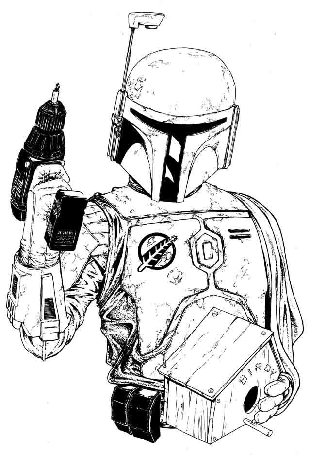 "Ink ""Hand drawing"" realistic ""black and white"" detailed Boba Fett"