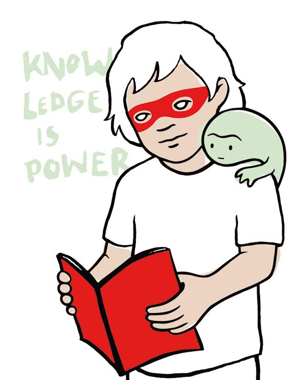 illustration illustrations illustrator illustrators boys knowledge is power monster mask book red green boy reading