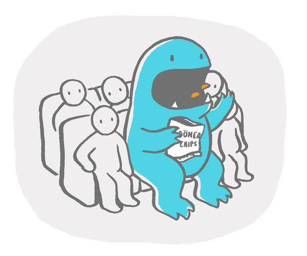 illustration illustrations illustrator illustrators dinosaur dinosaurs monster blue chips döner bag movie seats crunch people crowd