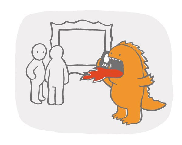 illustration illustrations illustrator illustrators dinosaur dinosaurs monster orange red cell phone scream loud picture people person