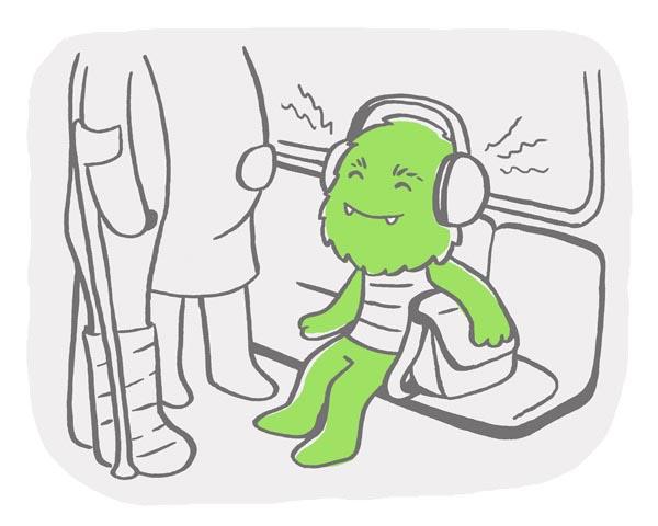 illustration illustrations illustrator illustrators dinosaur dinosaurs monster subway headphones window seat standing pregnant injury cast crutches music loud stripes green