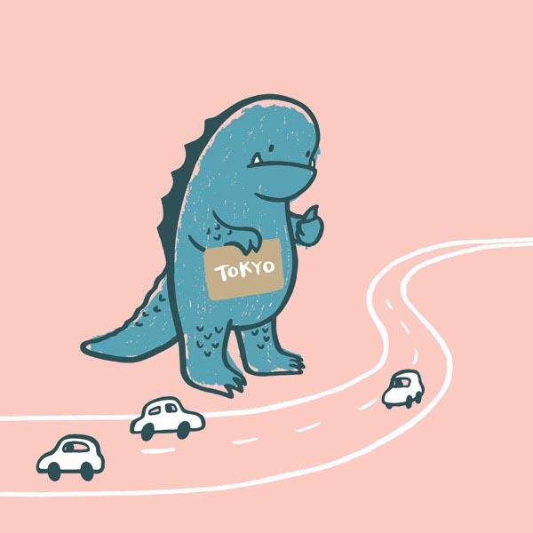 illustration illustrations illustrator illustrators dinosaur dinosaurs monster car highway cars road roads tokyo