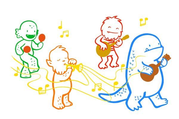 illustration illustrations illustrator illustrators music group guitar guitars banjo maracas monsters march monster