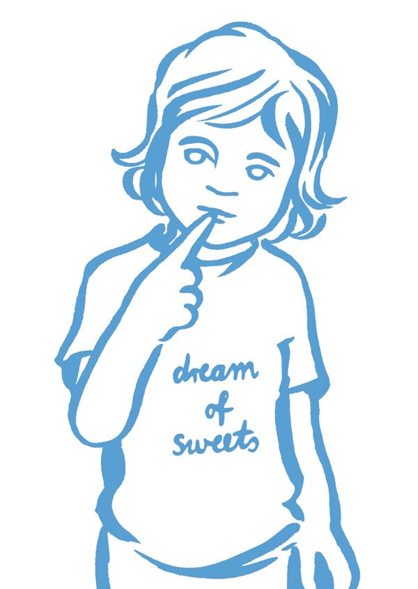 illustration illustrations illustrator illustrators dream of sweets blue girl child youth shirt message sketch girls
