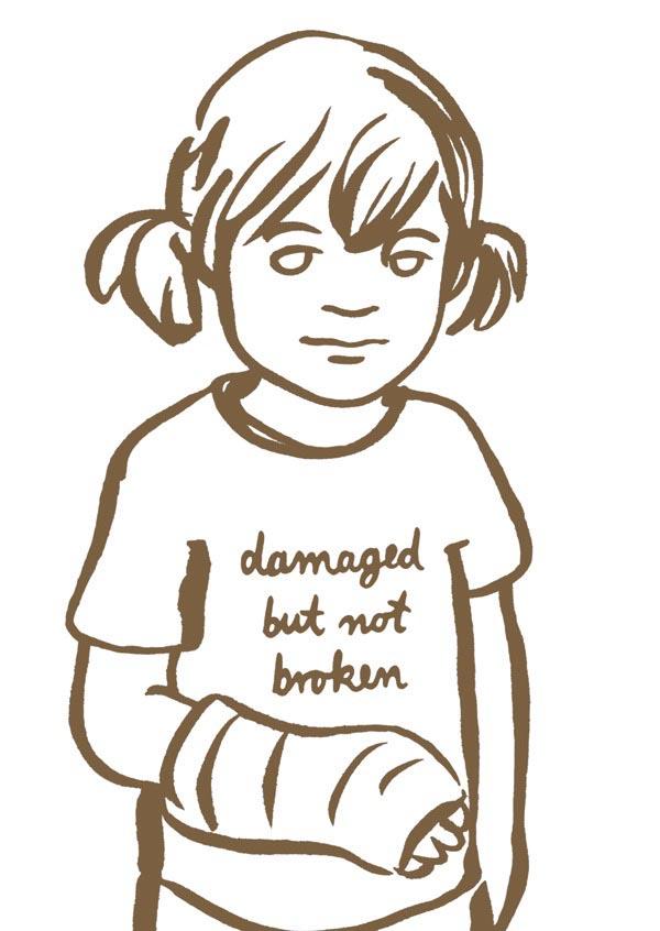 illustration illustrations illustrator illustrators damaged but not broken girl child cast injury brown sketch youth girls
