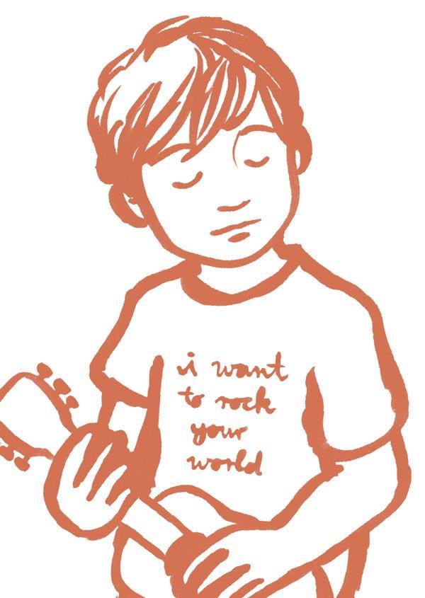 illustration illustrations illustrator illustrators i want to rock your world orange red boy boys child sketch guitar guitars music shirt