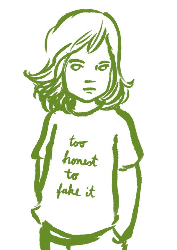 too honest to fake it girl girls child children kid kids t-shirt green