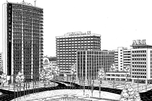 "Ink ""hand drawing"" realistic detailed architecture ernst reuter platz berlin ""black and white"""