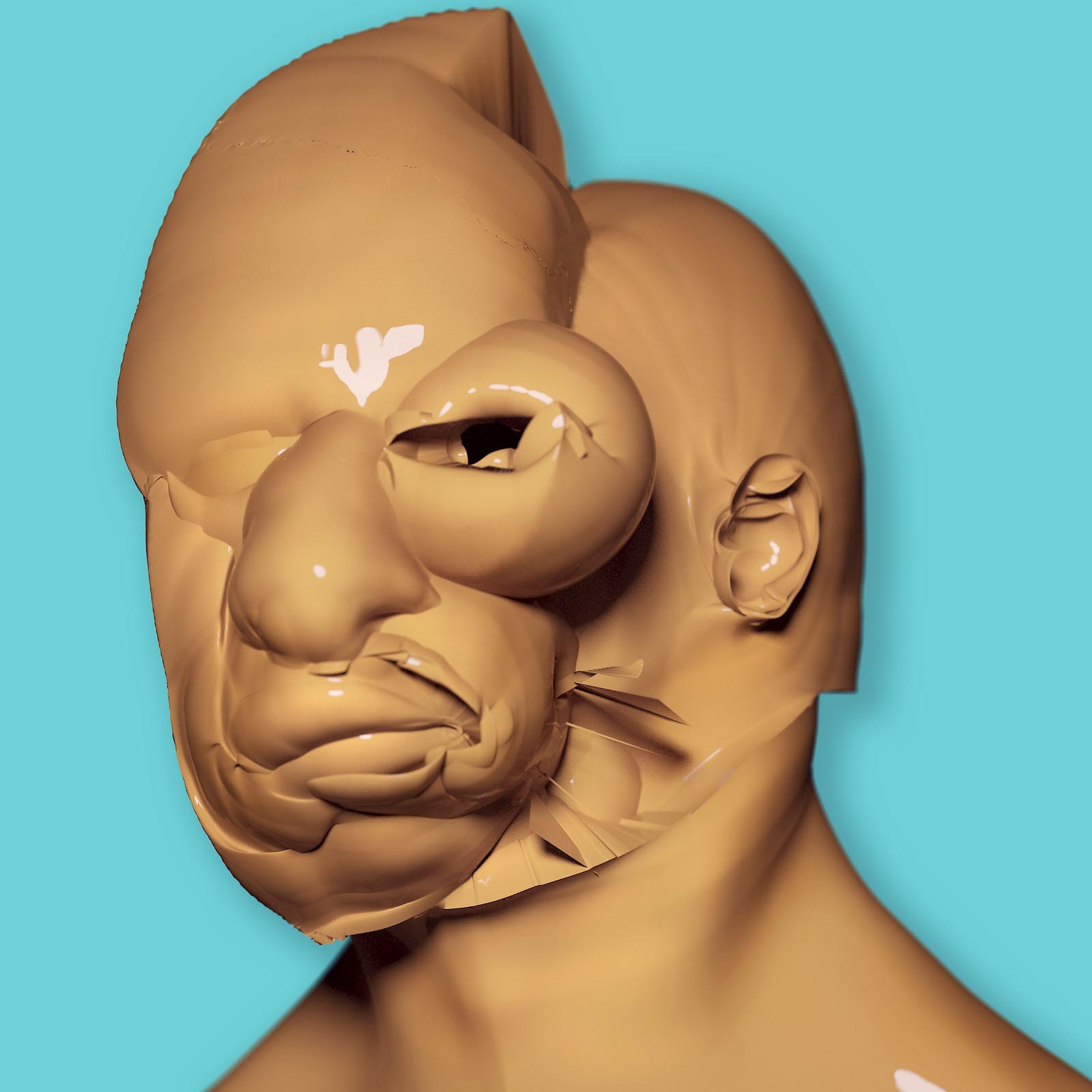 Botox Head Character Render Comic Blob Freeform Amorphous Bust Sculpture Displacement 3D