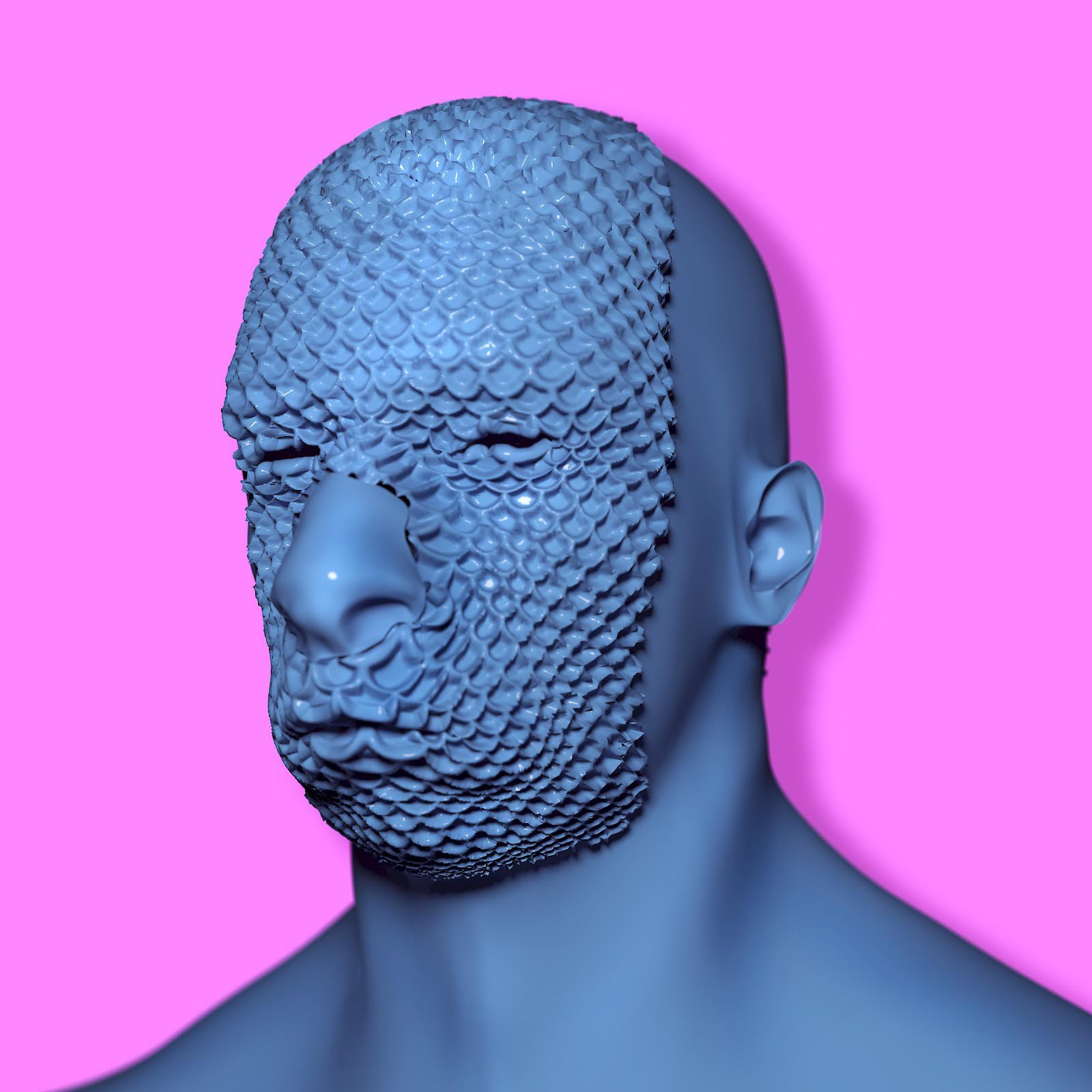 Botox Head Character Render Comic Blob Freeform Amorphous Bust Sculpture Displacement 3D man