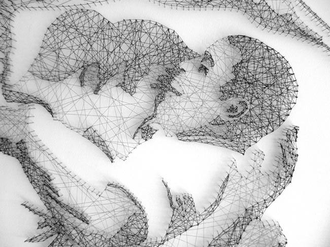 people thread threadart handcraft lines line, geometric