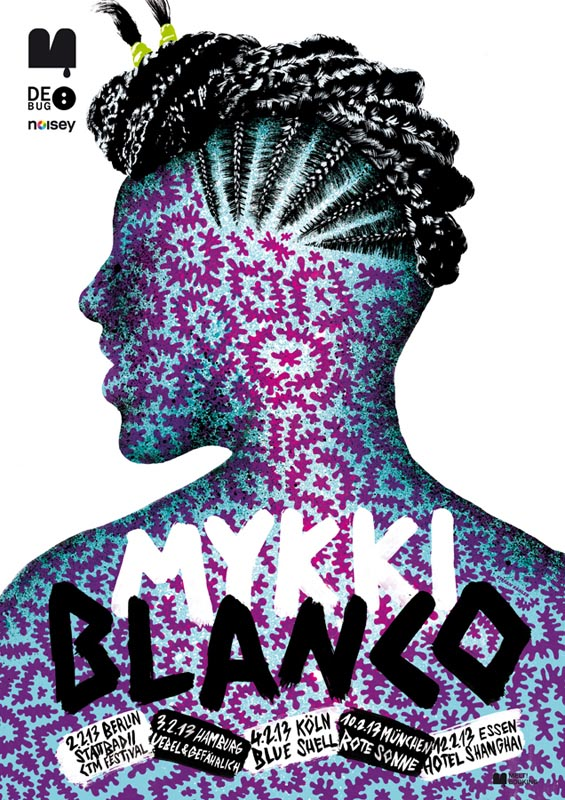 psychedelic punk watercolor digitally colored typography flyer poster braid braids pattern patterns man behind profile concert music