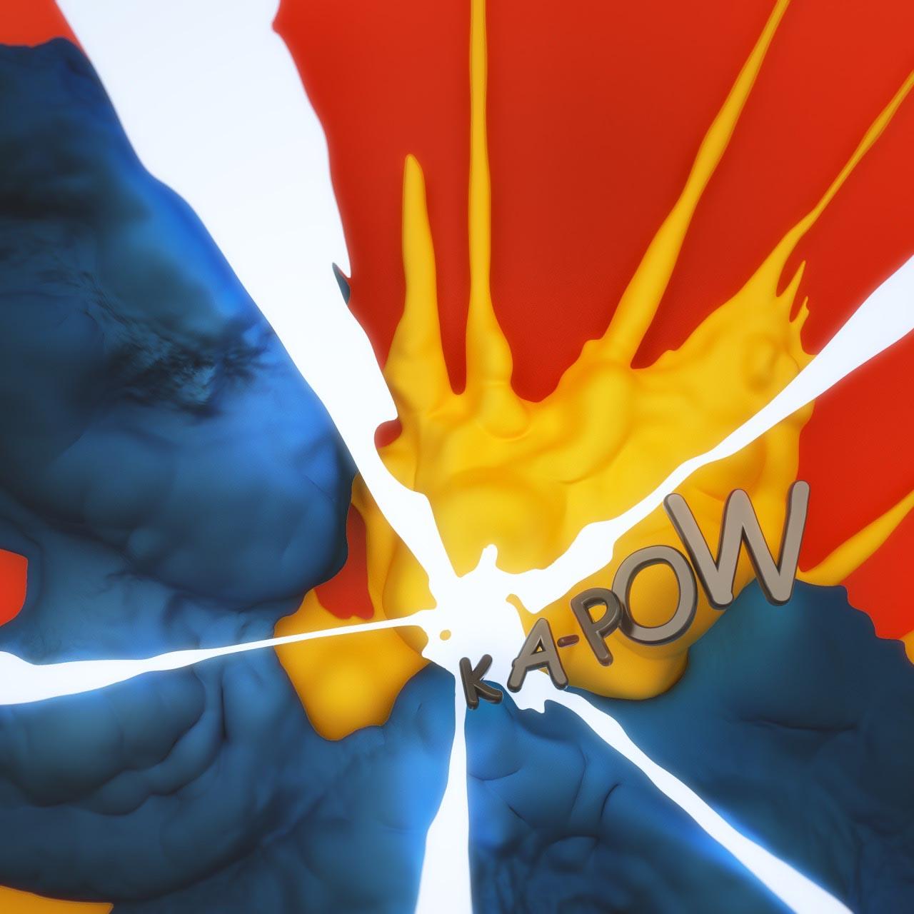 Onomatopoeia kapow comic cartoon typo typography font slang 3D explosion