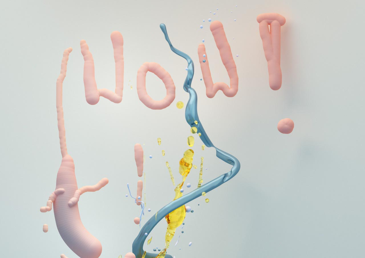 Funny Wow 3D stills splash abstract