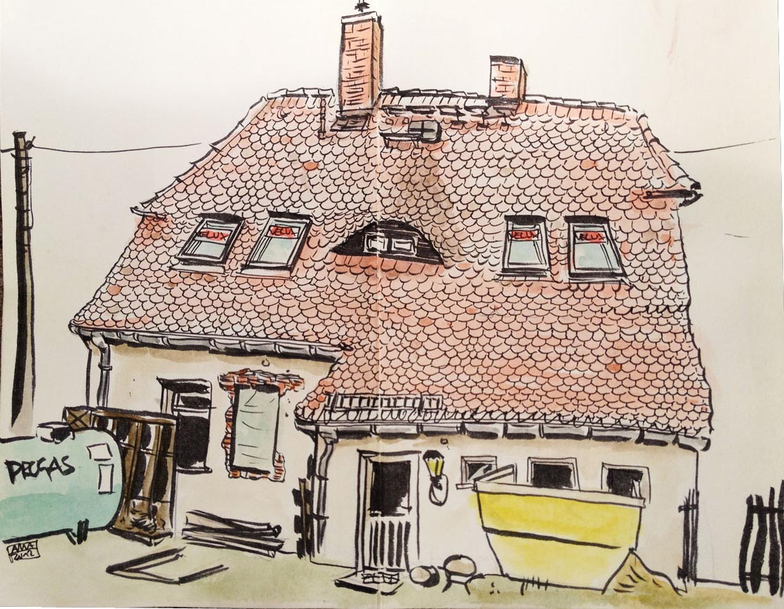 pencil colored pencil sketch travel sketch sketching scribble scribbling sketch house