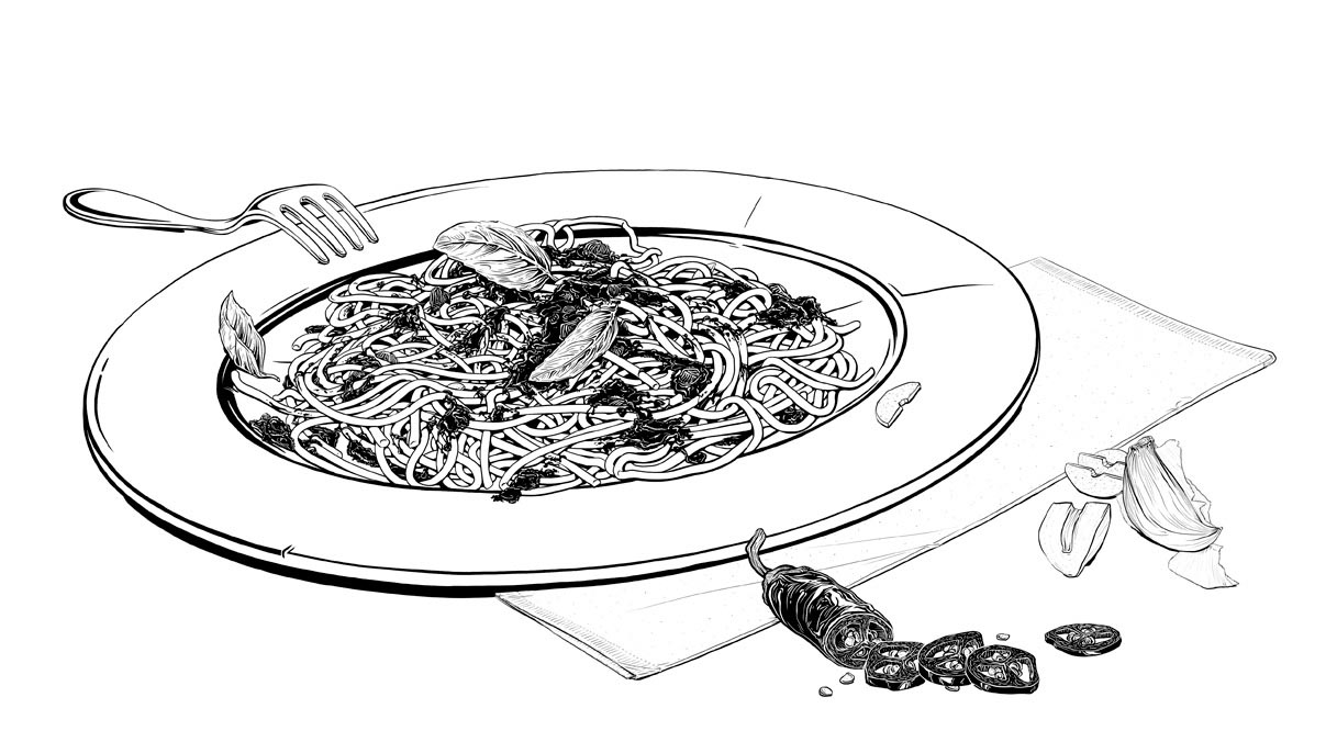 illustration illustrator vector food realistic Black and White spaghetti fork plate basil chili chilli garlic