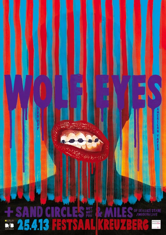 psychedelic punk watercolor digitally colored typography mooth teeth tooth braces wolf eyes leak leaking concert poster flyer
