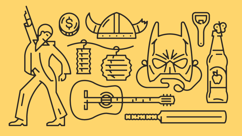 vector minimal lines outlines object objects mask batman disco viking helmet guitar bottle bottles