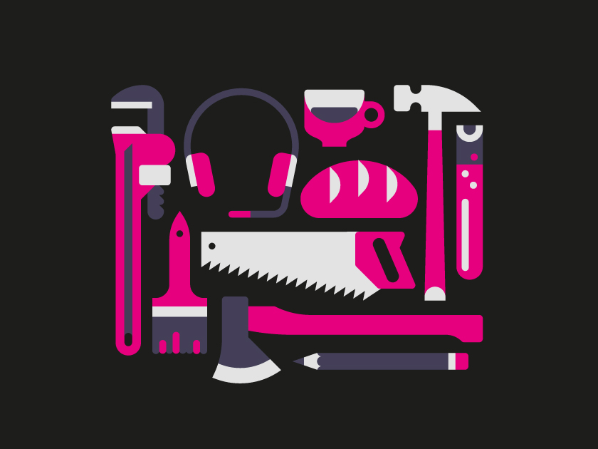 vector minimal object objects tool tools hammer pen brush headset ax axe bread gripper nipper pincer saw pink