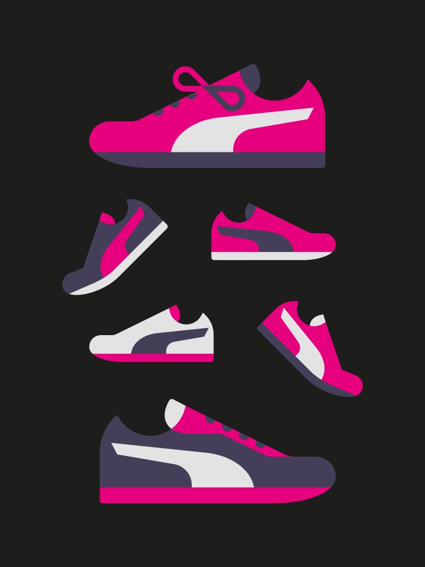 vector minimal objects shoes sneakers shoe pink