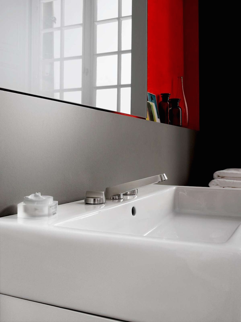 sink washbasin space room mirror red wall