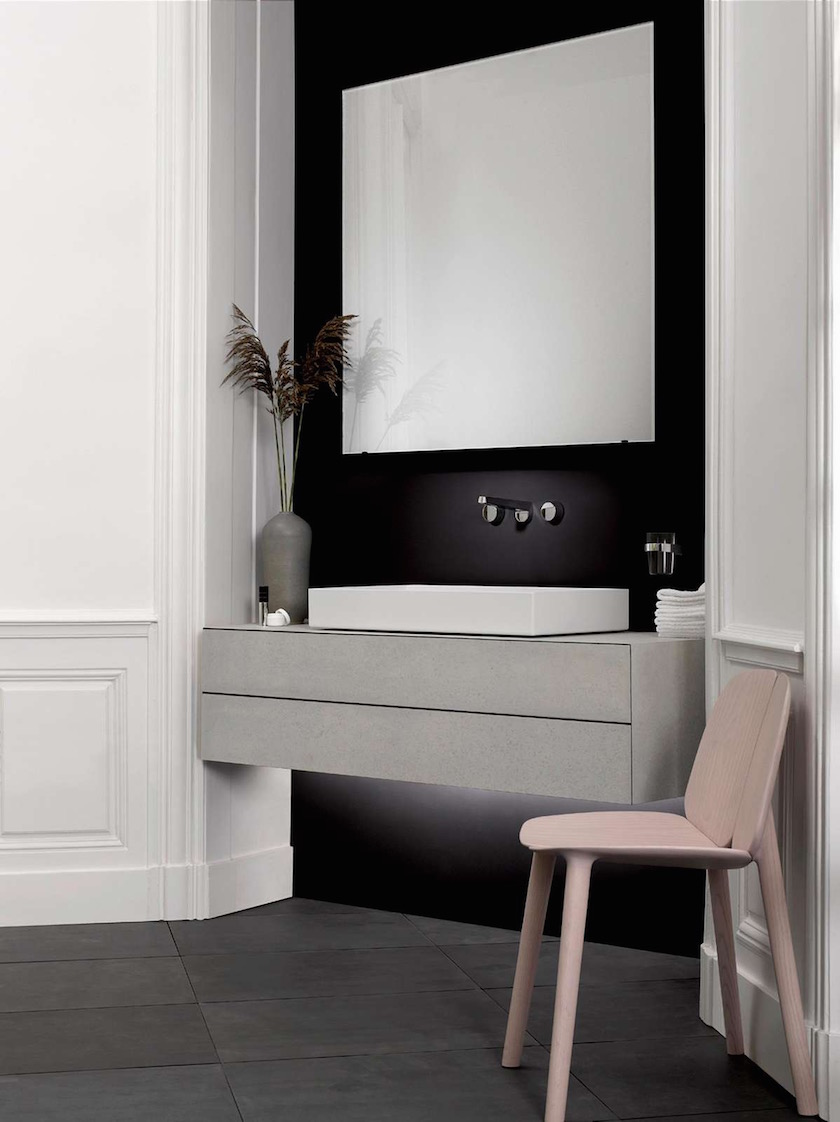 sink washbasin space room wall chair black white