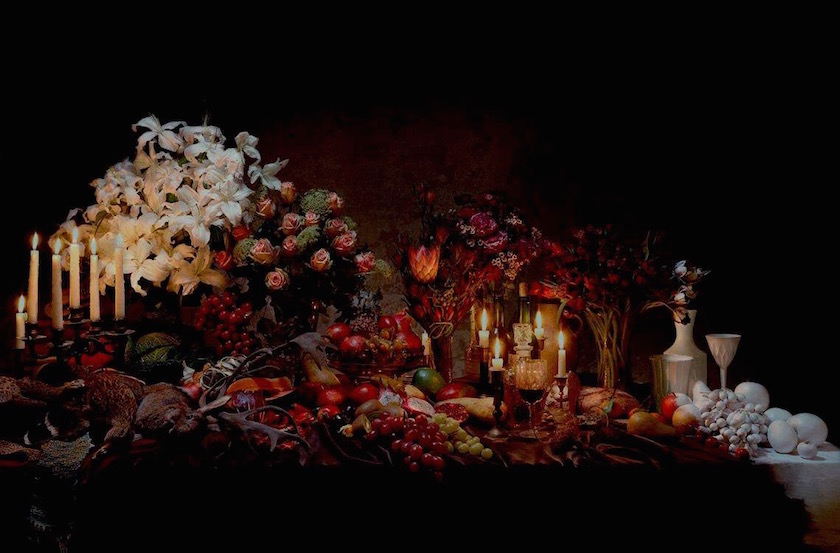 table flowers candles fruit fruits dark