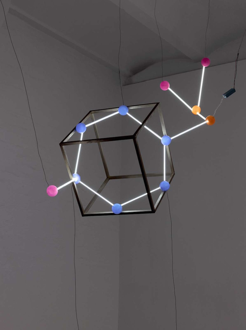 space hanging lamp cube neon