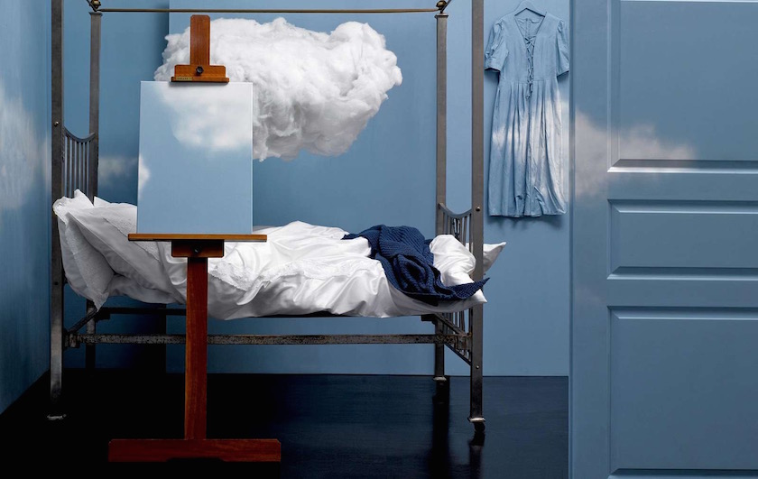 bed blue sky cloud clouds interior